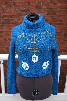 Ugly Hanukkah Sweater ANY SIZE Menorah Dreidel by ElvesGoneWild