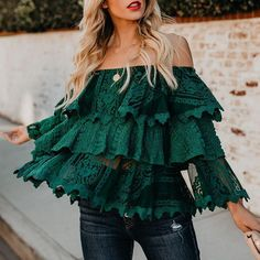 Cheap Blouses, Blouses For Women, Moda Outfits, Mode Top, Paris Chic, Off Shoulder Shirt, Green Blouse, Blouse Styles, Fashion Outfits
