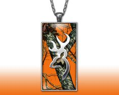 Orange Browning Camo Deer Pendant Charm Necklace Custom Silver Plated Jewelry