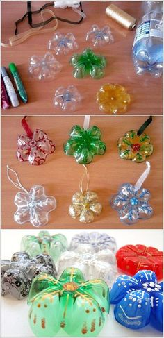 Here you go for some craft ideas specially for Christmas that are made from recycled plastic bottles: Snow Covered Tree Image Source: artesan Christmas Tree Decorations For Kids, Recycled Christmas Tree, Christmas Crafts For Kids, Holiday Crafts, Christmas Diy, Recycled Decor, Recycled Crafts, Recycled Furniture, Plastic Bottle Crafts