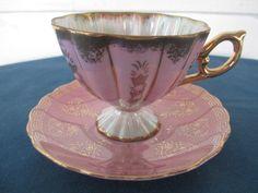 Vintage Royal Sealy Pink Lusterware Pedestal Teacup by BitofHope