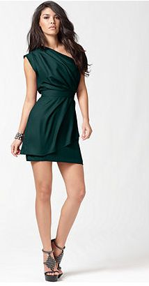 Love my one shoulder verde BCBG dress