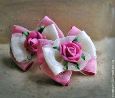 """Купить Резинки-бантики для волос""""Цветущий сад"""" - розовый, ярко-розовый, бантики для волос, бантики для девочек"""