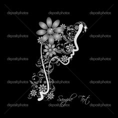 Perfil perfecto de una mujer con flores - Ilustración de stock: 17130443