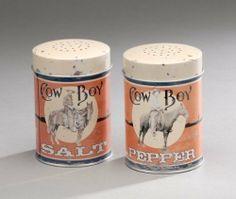 Cowboy Tin Salt & Pepper Set by JT. $9.00. Cowboy Tin Salt & Pepper Set