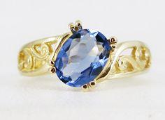 Tanzanite Gold Ring Oval Cut Gold 14 Karat Bazaars R Us Custom Jewelry Filigree $765.00 (on sale)