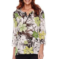 3faf08fa627b5 Alfred Dunner Womens Tunic Sao Paolo 3.4 Sleeves Tropical Print 10 14 16P  NEW 16.99 http