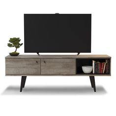 Midtown Concept Barcelona Grey MDF Mid-century 2-Cabinet TV Stand 285