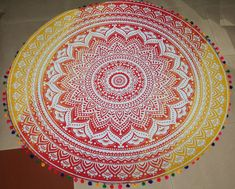 Mandala Round Tablecloth Decorative Throw Roundie Beautiful Gypsy Floor Towel Cotton Indian Boho Beach Hippie Sheet Colour with Tassels Cotton Blankets, Cotton Quilts, Hippie Bedding, Mandala Tapestry, Beach Blanket, Kantha Quilt, Quilt Bedding, Tapestry Wall Hanging, Hanging Table
