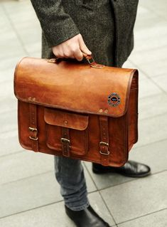 Men's Genuine Vintage Leather Messenger Laptop Briefcase Satchel Man Bag Brown by AntikIsrael on Etsy Briefcase For Men, Leather Briefcase, Leather Satchel, Laptop Briefcase, Business Briefcase, Laptop Bags, Laptop Backpack, Vintage Leather, Leather Men