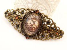 Filigree Steampunk Hair Clip in bronze with gear by Schmucktruhe, €28.00
