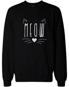 Meow Cute Kitty face Women's Sweatshirt Crewneck Pullover Fleece Sweaters Cat Lovers