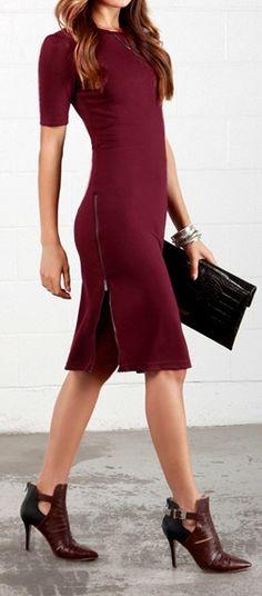 Zippery When Wet Burgundy Midi Dress