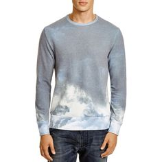 SOL ANGELES Wave Crewneck Sweatshirt ($89) ❤ liked on Polyvore featuring mens, men's clothing, men's hoodies, men's sweatshirts and hurricane blue
