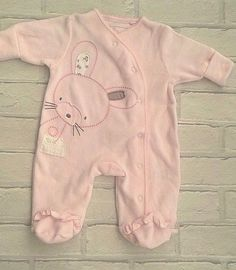 Next Baby Girls Pink Velour Sleepsuit babygrow First Size 7.8lbs #Next #Casual