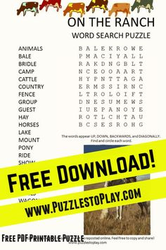 On the ranch word search is a fun look at the rural lifestyle across America. The rancher and the family are found working the land and taking care of livestock. This printable puzzle honors the folks who live away from the city.