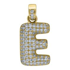 """Yellow Gold Iced Out Cubic Zirconia Mens Womens Bubble Initial Letter """"E"""" Charm PendantItem Number - from Yellow GoldWidth: inches ; Length: inchesGift box Yellow Gold Iced Out Cz Mens Womens Bubble Initial Letter """"E"""" Charm Pendant Letter E, Initial Letters, Letter Pendants, Initials, Bubbles, Charmed, Jewels, Yellow, Metal"""