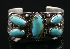 Navajo Silver and Turquoise Bracelet     circa 1920