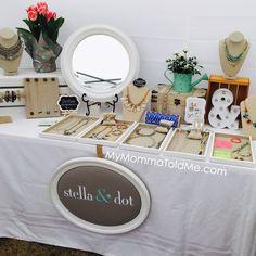 Stella & Dot Vendor event display set up ideas Stella & Dot Trunk Show display ideas MyMommaToldMe.com