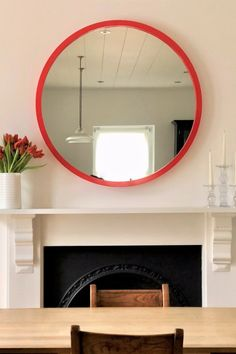 Add a pop of colour to your walls with a Red Lacquer overmantle mirror. Sizes 94cm and 115cm diameter.  #largeroundmirror #redmirror #redlacquer #largeroundovermantle Mirror Room, Red Mirror, Convex Mirror, Extra Large Round Mirror, Round Mirrors, Modern Interior Design, Contemporary Design, Overmantle Mirror, Uni Room