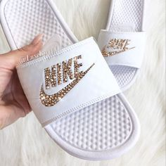 Nike Benassi Jdi Slides Flip Flops Customized With Swarovski Crystals. ($85) ❤ liked on Polyvore featuring shoes, sandals, flip flops, gold, women's shoes, sparkly flip flops, wrap shoes, swarovski crystal shoes, evening shoes and evening sandals