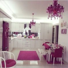 Image about pink in Outside World - Inside Decor. Kitchen Room Design, Kitchen Colors, Home Decor Kitchen, Kitchen Interior, Pink Home Decor, Cute Kitchen, Cuisines Design, Eclectic Decor, Home Decor Furniture