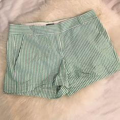 J. Crew Seersucker shorts J. Crew green and white seersucker shorts in like new condition. No stains or tears. Perfect for summer! lmk if you have any questions J. Crew Shorts