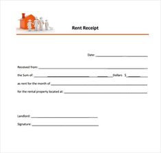 four basic rent receipts on one sheet formatted horizontally with