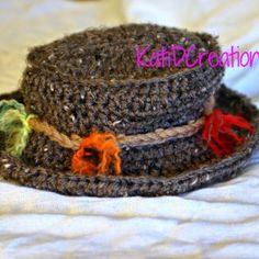 Newborn size Fishin' Hat.     Free crochet pattern for your own use.This pattern is copyrighted
