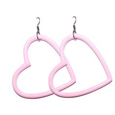 Pastel Grunge Pink or Blue Big Heart Earrings ($5.09) ❤ liked on Polyvore featuring jewelry, earrings, plastic earrings, pink earrings, earring jewelry, vintage heart jewelry and heart jewelry