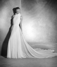Noa - Vestido de noiva em gaza de seda, corte evasé e gola alta