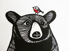 Dieser Bär und Robin ist ein original Linolschnitt drucken (nicht Digital reproduziert-Druck). Limitierte Auflage von 50. Betitelt und handsigniert in Bleistift von mir, der Künstler. Der Bär und Robin gezeichnet und in Linoleum geschnitzt und Hand von mir mit wasserbasierten Tinte auf