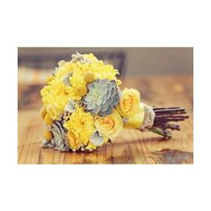Yellow and grey bouquet. Perfect! Succulents are... found on Polyvore