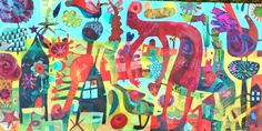 Bird feeder Este MacLeod acrylic on canvas. 50x100cm
