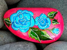 blue roses / painted rocks / painted stones / hand painted rocks / turquoise / cape cod beach stones by LoveFromCapeCod on Etsy