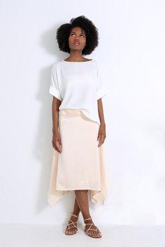 Natalie Busby Silk Midi Skirt Blush + Natalie Busby Tencel T-Shirt