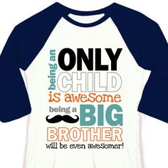 Only child big brother to be pregnancy announcement 3/4 sleeve length raglan shirt on Etsy, $22.50