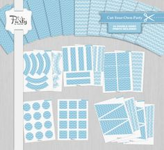 Baby Blue Chevron Party Kit - Cut-Your-Own-Party Decoration Kit