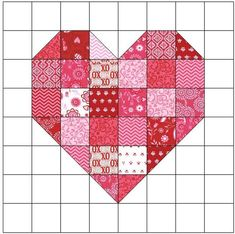Looking for your next project? Youre going to love Scrappy Heart Quilt Block Pattern by designer FeverishQuilter. Log cabin blocks are so much fun and can create so many different pictures. I had a lot of fun creating this Log Cabin Heart Quilt Block Patt Heart Quilt Pattern, Quilt Block Patterns, Heart Patterns, Pattern Blocks, Block Quilt, Quilt Blocks Easy, Patchwork Patterns, Simple Quilt Pattern, Flag Quilt