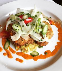 Emeril's Delmonico - Paneèd Swordfish, pancetta, asparagus and shiitake mushroom risotto, fennel & roasted tomato vinaigrette