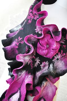 printed fabric with nuno felting