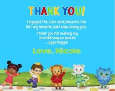 Dainel Tiger Neighborhood Birthday Party Thank You Note Cards Personalized Birthday Thank You Cards, Thank You Note Cards, 2nd Birthday, Birthday Ideas, Birthday Parties, My Favorite Part, My Favorite Things, Daniel Tiger's Neighborhood