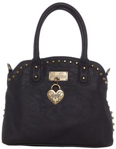 ROCK REBEL STELLA HANDBAG BLACK This bag is tough as nails! It is a black faux leather purse surrounded by gold spikes. It features a satin-like leopard lining with short handles, but includes a longer cross body strap for hands free carrying. $56.00 #rockrebel #handbag #purse #studded