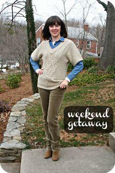 Slouchy sweater, denim shirt, cords for a weekend getaway. [http://www.franticbutfabulous.com/2013/02/06/working-mom-outfit-of-the-week-kid-free-weekend-getaway/]