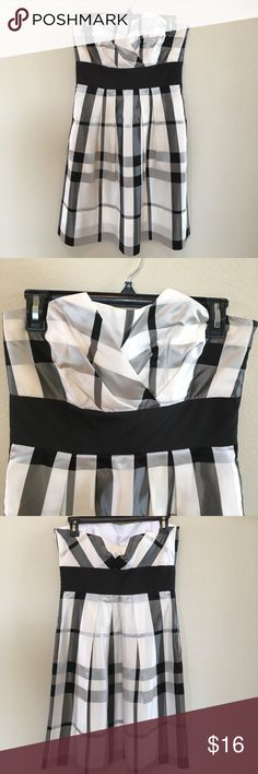 White House Black Market Strapless Dress WHBM White House Black Market Strapless dress in black and white. Beautiful details and perfect condition! Size 4. White House Black Market Dresses Strapless