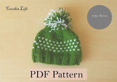 Baby Hearts hat, PDF Pattern, Knitting pattern, Knit baby hat, Newborn Photo prop, Knit your own, Pompon hat by daryacrochetlife. Explore more products on http://daryacrochetlife.etsy.com