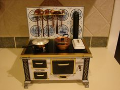 Vintage Tin Schopper Western Germany Toy Stove Complete w Pots Pans Utinsels | eBay