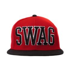 95b2ec167b0 Red and black snapback hat featuring front SWAG text.