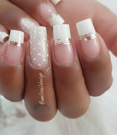 100 Beautiful wedding nail art ideas for your big day - wedding nails bride nails nail art romantic nails pink nails Wedding Nails For Bride, Bride Nails, Wedding Nails Design, French Acrylic Nails, French Tip Nails, Nail French, Glitter French Manicure, Pink Nails, My Nails
