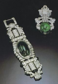 Maubousin created emerald and diamond bracelet and brooch for Marlene Dietrich